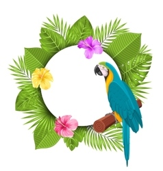Beautiful Card with Parrot Ara Colorful Flowers vector image vector image
