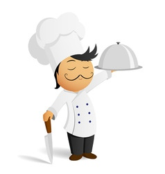 cartoon chef in white hat with knife and dish vector image vector image