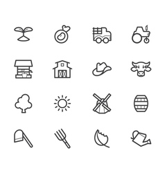 Farm element black icon set on white background vector