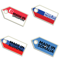 Label made in singapore slovakia slovenia somalia vector