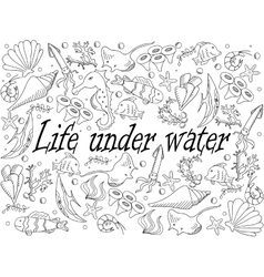 Life under water coloring book vector image vector image