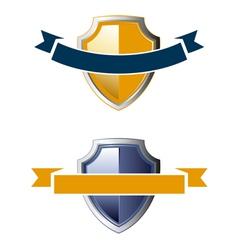 shield ribbon icons vector image vector image