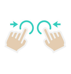two hand zoom out flat icon touch and gesture vector image vector image