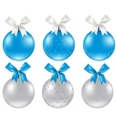 Christmas Silver And Blue Ball vector image vector image