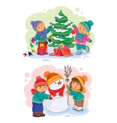 Icons small children decorate the Christmas tree vector image vector image