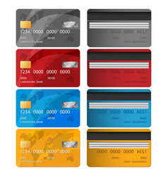 set of credit card two sides credit card vector image