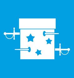 sword box icon white vector image