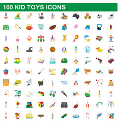100 kid toys set cartoon style vector