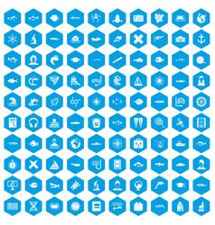 100 oceanologist icons set blue vector