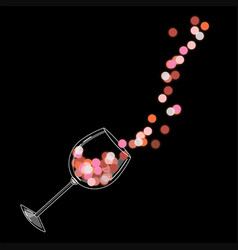 A glass red glowing wine vector