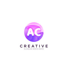 Ac initial logo with colorful circle template vector