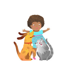 African american child girl with cat and dog vector
