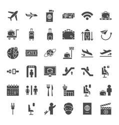 airport solid web icons vector image