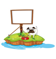 An empty board with a dog in island vector