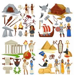 ancient civilizations primitive people and vikings vector image