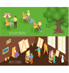 Artist isometric banners vector