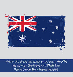 Australian flag flat - artistic brush strokes vector