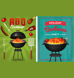 Barbecue grill elements set isolated on red vector