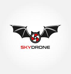 bat sky drone logo design symbol vector image