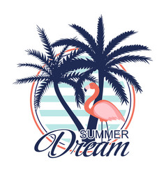 beautiful palm tree and flamingo icon silhouette vector image