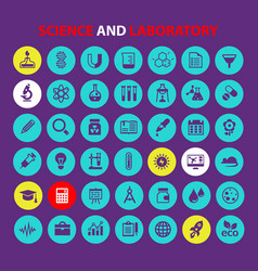 big science icon set trendy flat icons collection vector image