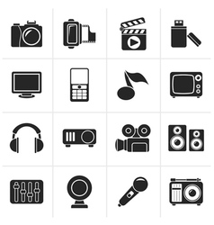 Black multimedia and technology icons vector image vector image