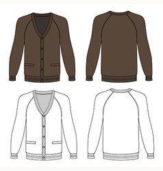 Blank long sleeve brown raglan cardigan vector image