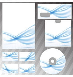 Blue waves lines corporate stationery set vector