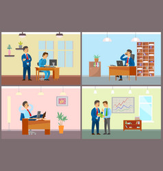 Boss and employees working in office business set vector