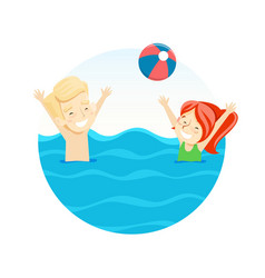 boy and girl playing ball in water vector image