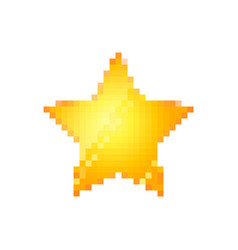 bright glossy yellow star in pixel art style on vector image
