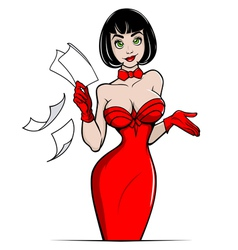 business lady in red vector image