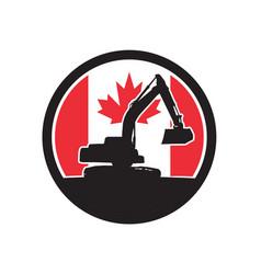 Canadian excavator canada flag icon vector