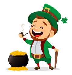 cartoon funny leprechaun with smoking pipe and vector image