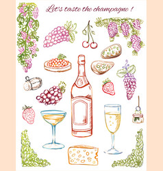 champagne tasting hand-drawn coloring sketches vector image