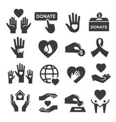 charity donation and help symbol icon set vector image