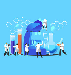 chemist team explore microbiology in laboratory vector image