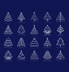 christmas tree simple white line icons set vector image