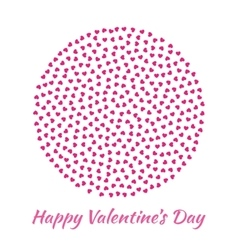 Circle pink Hearts Valentines Day card Background vector