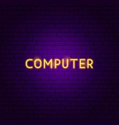 computer neon text vector image