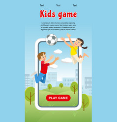 concept image happy kids game soccer ball vector image