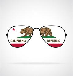 Cool aviator sunglasses with california ca flag vector