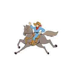 Cowboy Riding Horse Waving Cartoon vector image