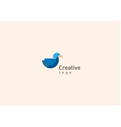Creative logo design geometric multicolored duck vector