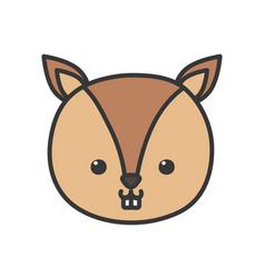 cute little squirrel head animal cartoon vector image