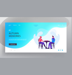 Dating in cafe website landing page loving couple vector