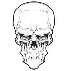 Decrepit evil cartoon skull vector