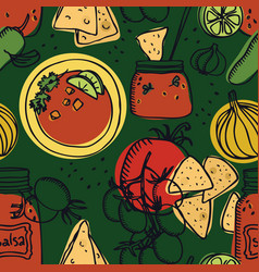 Delicious tomato salsa with chips seamless pattern vector