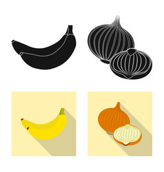 Design of vegetable and fruit sign set of vector