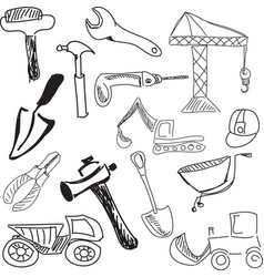 Drawn tools on white vector